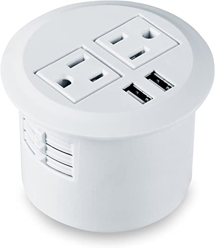 Kungfuking Desktop Power Grommet Power Outlet Socket Desk Data Center 2 Outlet with 2 USB Ports with 10 FT Extension Cord White