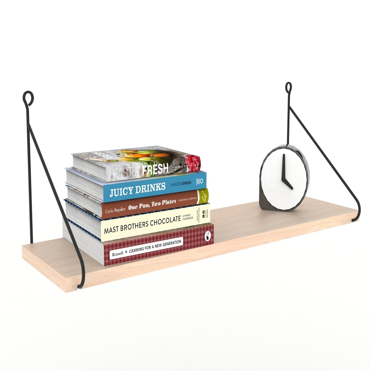LaModaHome Black Iron Handle Wooden Wall Shelf, 100% Melamine Coated Particle Board - Size (28.3'' x 7.9'' x 7.9''), Easy to Hang with Invisible Brackets, Wall Mounted Floating Shelves for Home & Office