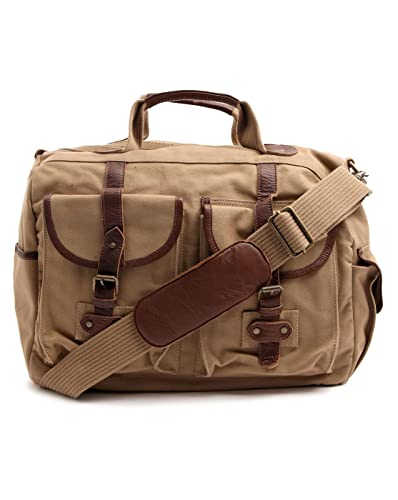 20fe1a0e660e BARBOUR - Overnight Bags - Men - McQueen Sand Coloured Leather and Canvas  Weekend Bag for