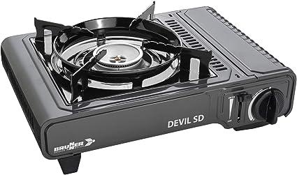Brunner Devil SD - Hornillo con termopar (Encendido piezoeléctrico Integrado y quemadores de Aluminio, 30 mbar, 2,5 kW), Color Negro, 34 x 28 x 12 cm