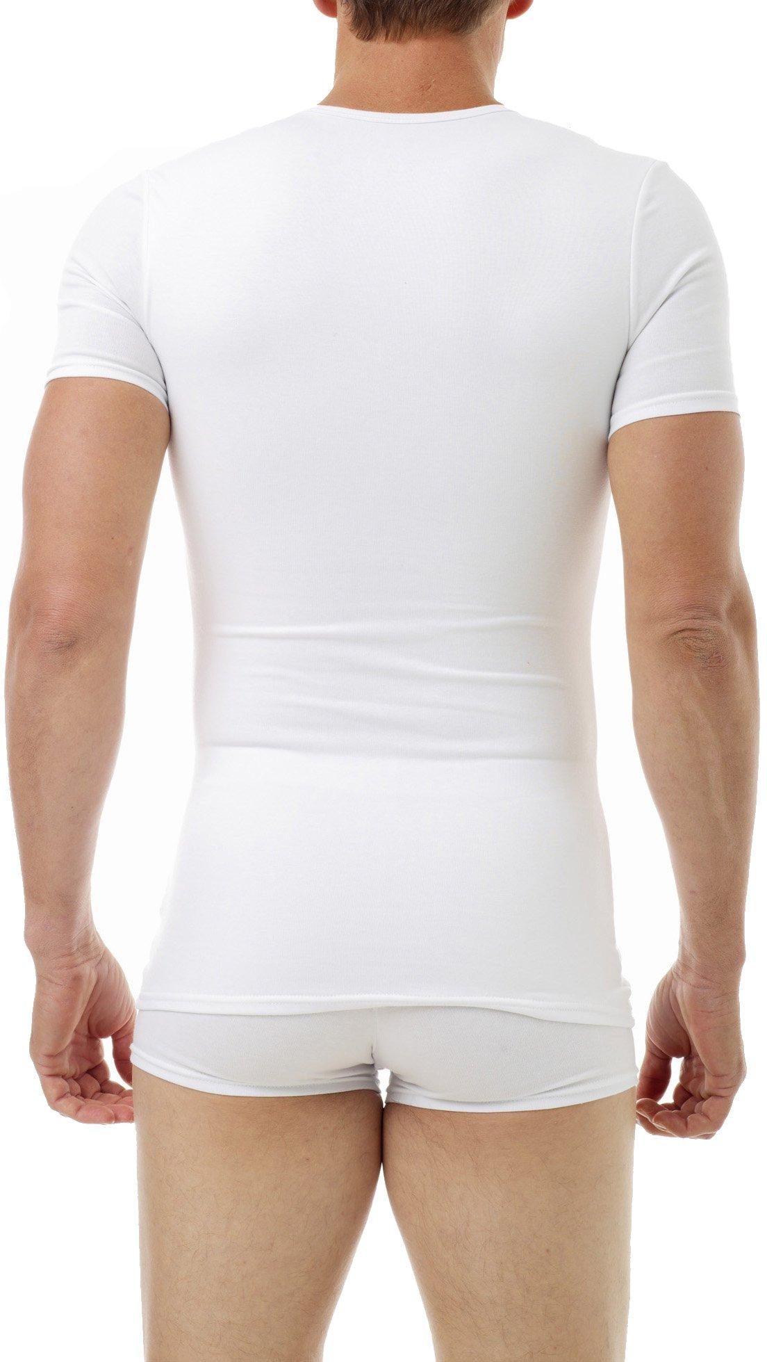 Underworks Cotton Concealer Compression V-neck T-shirt 3-pack Top, Large, White by Underworks (Image #3)
