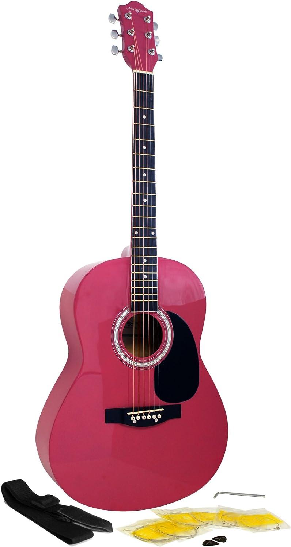 Martin Smith W-100-PNK-PK - Paquete de guitarra acústica con cuerdas, color rosa