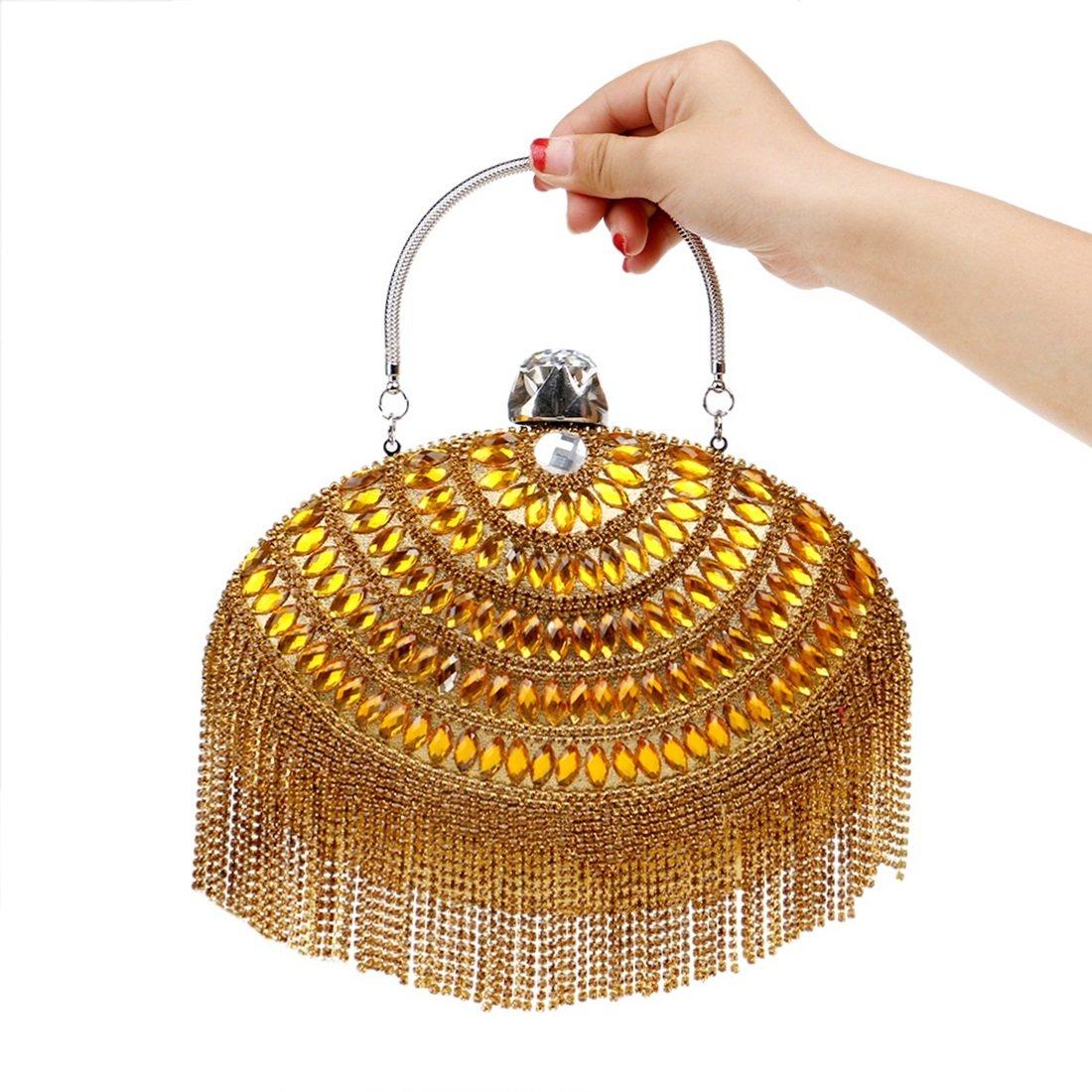 Limeinimukete Frauen Luxus Quasten Abendtaschen Kupplungen Handtasche Umhängetasche (Farbe   Gold) B07KQVHJX5 Clutches Lassen Sie unsere Produkte in die Welt gehen