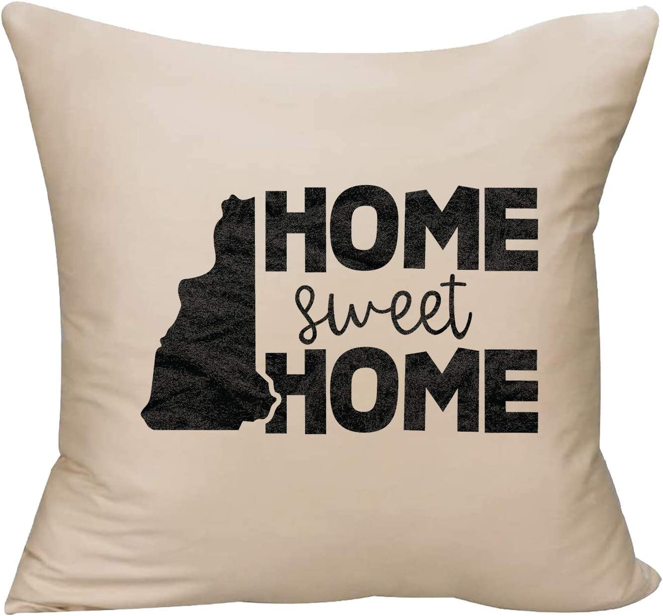 EVH Home Sweet Home New Hampshire State Native Hometown Love Decorative Throw Pillow Cover 18 x 18 Beige Funny Gift