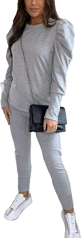 H Womens Ladies Puff Sleeve Top Bottom 2PCS Jogging Loungewear Suit Tracksuit Set