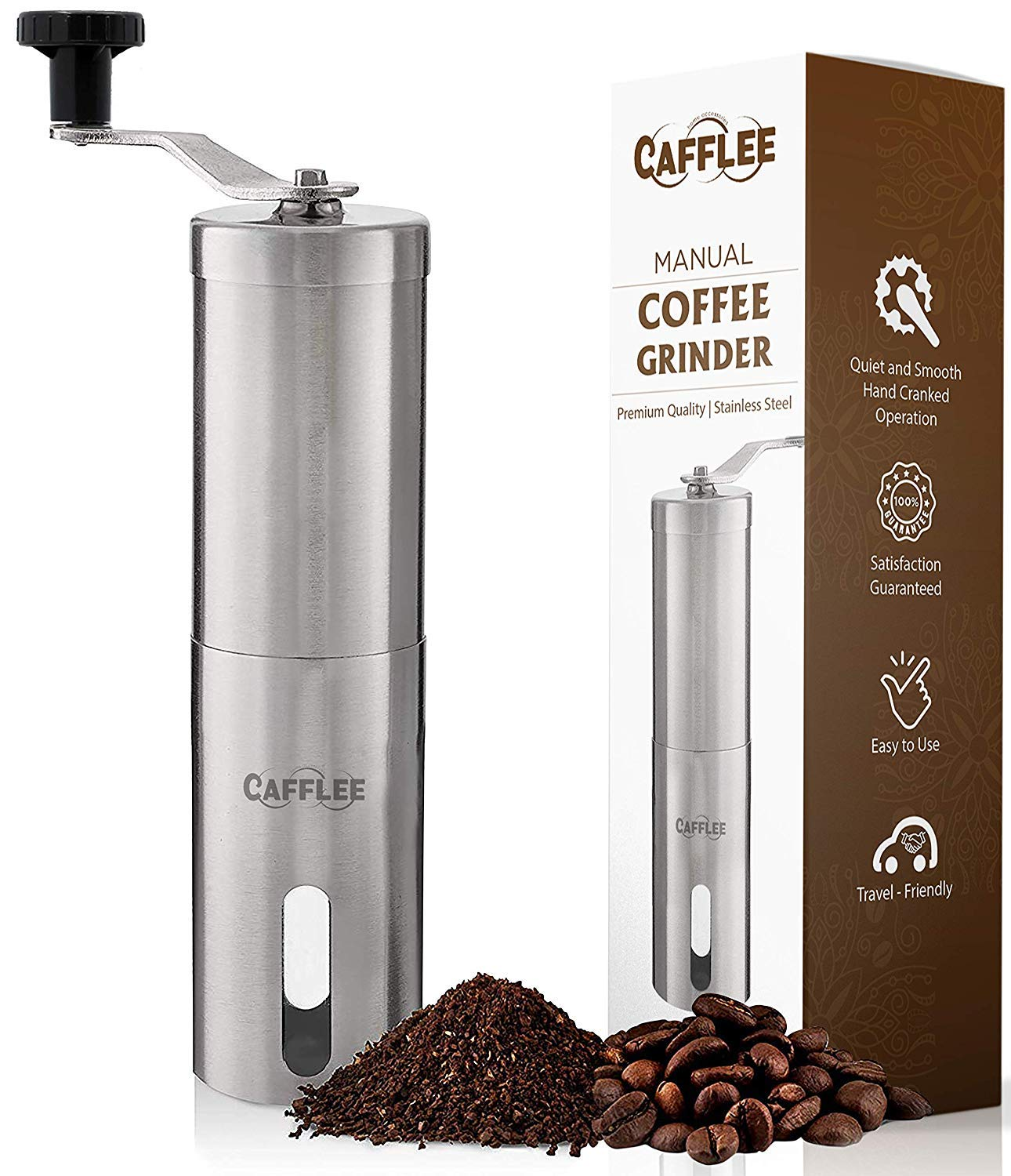 Manual Coffee Grinder by Cafflee, Conical Burr Mill for Precision Brewing, Premium Brushed Stainless Steel