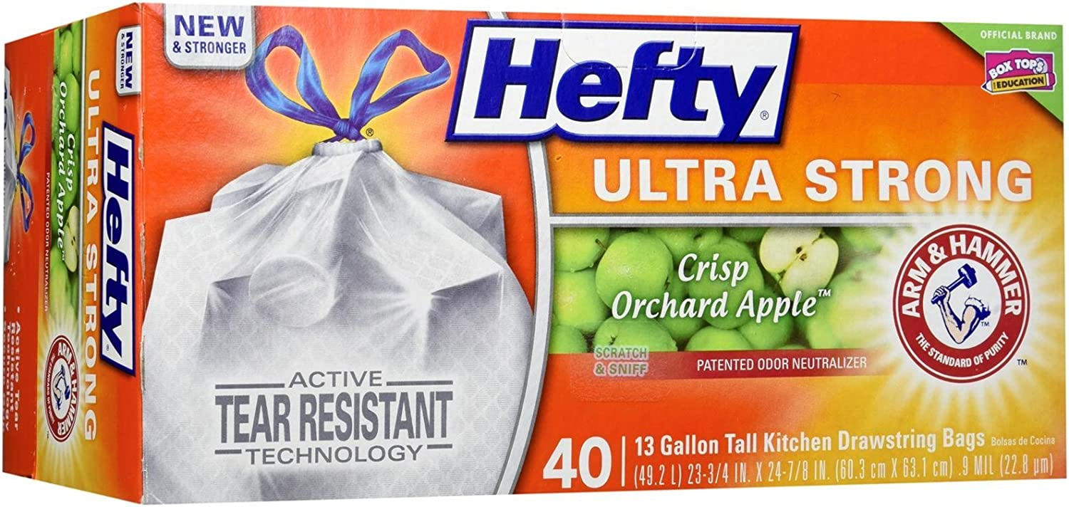 Hefty Ultra Strong Tall Kitchen Drawstring Trash Bag, Crisp Apple Orchard, 40 Count