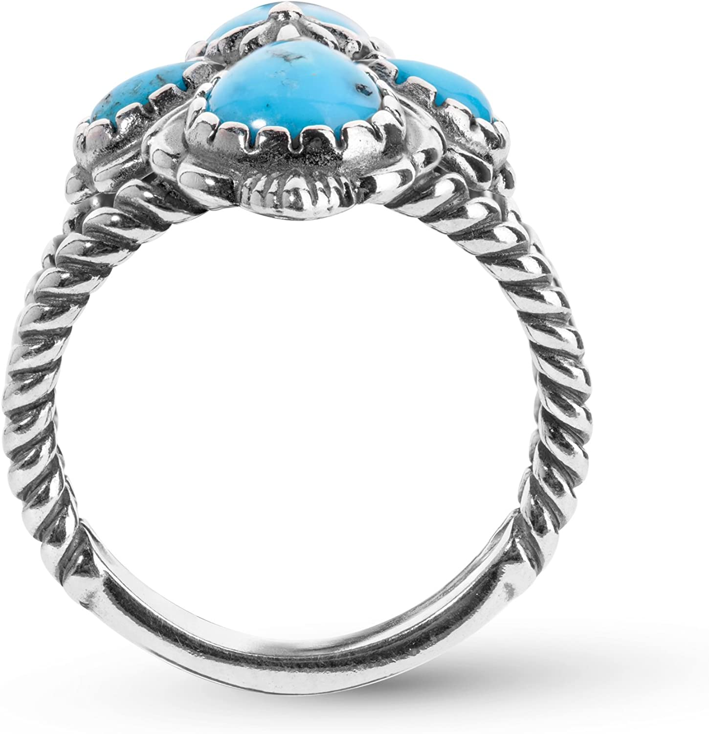 American West Sterling Silver Blue Spider Web Turquoise 4-Stone Cross Ring Size 5 to 10