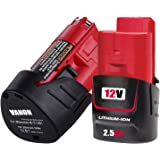 2 Pack 12V 2500mAh Lithium-ion Replacement Battery Compatible with Milwaukee M12 48-11-2411 48-11-2420 48-11-2401 48-11-2402 48-11-2401