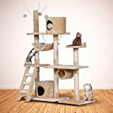 Cat Tree Furniture Condo House With Hammock Beige