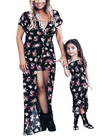 Vestidos para Madre E Hija Elegantes Vintage Moda Manga Corta Impresión Fiesta Dresses Señoras Floral Irregular