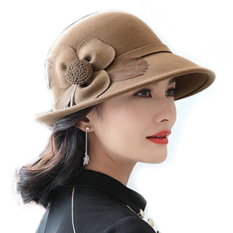 TTjII Womens hat With flower Bucket Bell Shaped Cap 1920s Vintage 100%Wool  Felt Cloche 886a7961ca8