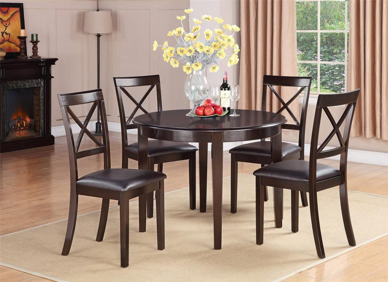 Amazon Com East West Furniture Small Dining Table Set 5 Piece Cappuccino Color Faux Leather Dining Room Chairs Seat Cappuccino Finish Round Kitchen Table And Body Table Chair Sets