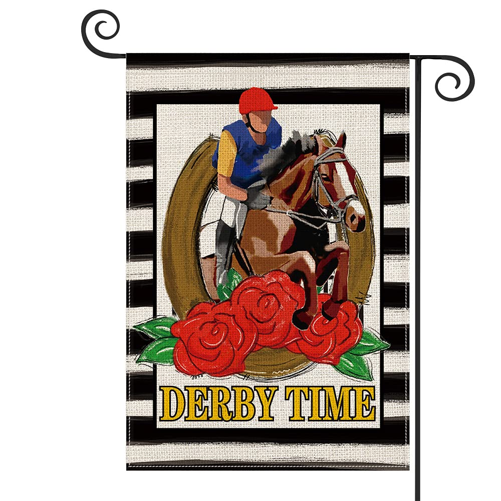 AVOIN colorlife Watercolor Stripes Belmont Stakes Horse Racing Garden Flag Vertical Double Sided Derby Time Rose Rider Horse, Farmhouse Flag Party Yard Outdoor Decoration 12.5 x 18 Inch