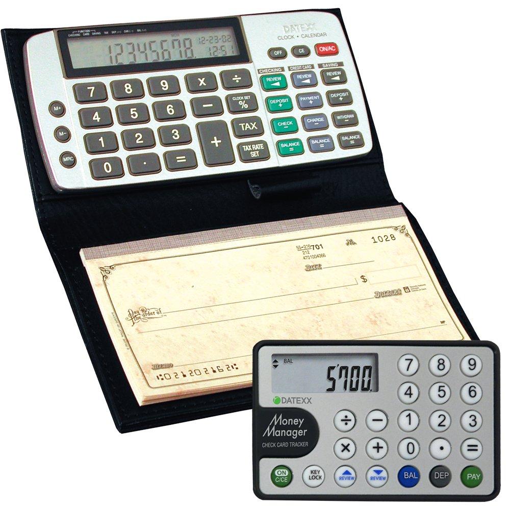 Datexx DB-413 Checkbook Calculator + Money Manager Credit Card Calculator Combo