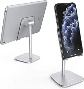 ATUMTEK Universal Cell Phone Stand, Solid Aluminium Alloy Adjustable Desktop Stand Holder for iPhone 11/11 Pro/XS Max/XR/XS/X/8/7 Plus, iPad, Samsung, Switch, All Tablets and Smartphones - Silver