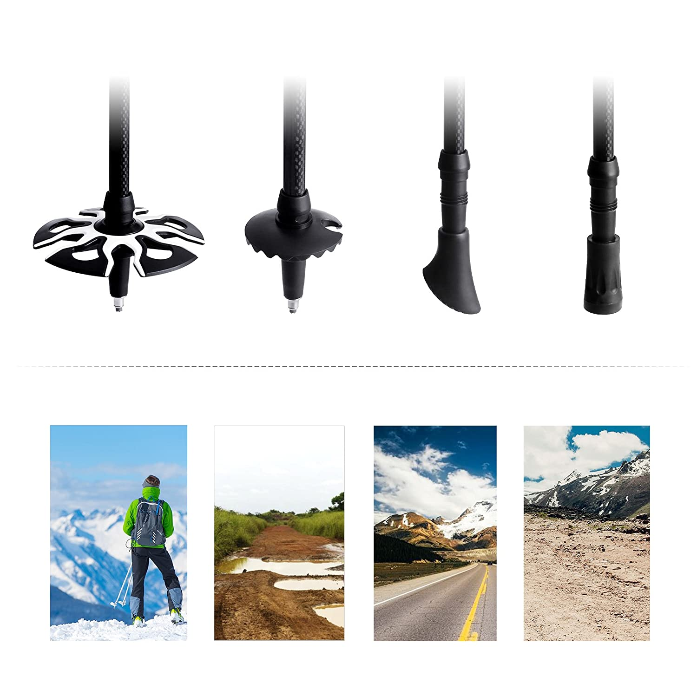 63-135 cm Ultra-Light Noiseless Telescopic Hiking or Walking Sticks with Aluminum Quick Lock and Carry Bag Black SAS70BK SONGMICS 2 Pack 100/% Carbon Fiber Trekking Poles
