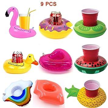 Clerfy Acc 9 piezas Inflable Flotador Posavasos con mini ...