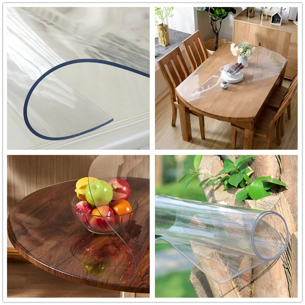 OstepDecor Custom 2mm Thick Crystal Clear Table Top Protector Plastic Tablecloth Kitchen Dining Room Wood Furniture Protective Cover | Rectangular 40 x 78 Inches by OstepDecor (Image #8)