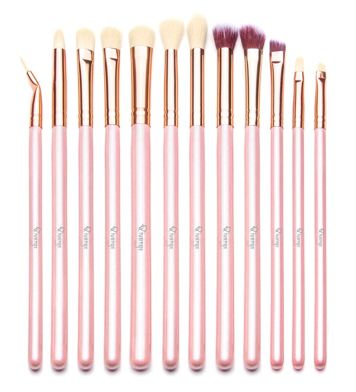 Qivange Brochas de Ojos Kit de Brochas de Maquillaje con Bolsa (12pcs Rosado con Oro Rosa)