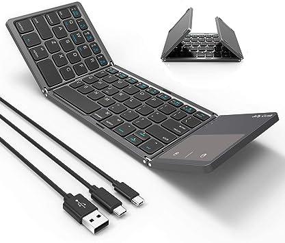 Teclado Bluetooth plegable, Jelly Comb 3 en 1 (USB/Microusb/Tipo C) con cable y teclado Bluetooth con panel táctil compatible con todos los ...