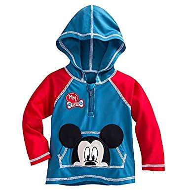 Disney Store Mickey Mouse Baby Hooded Wetsuit Swimsuit One Piece Rash Guard NEW