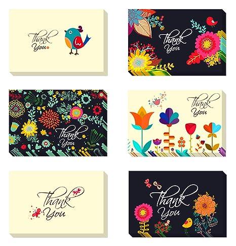 Amazon.com: Juego de 48 tarjetas de agradecimiento a granel ...