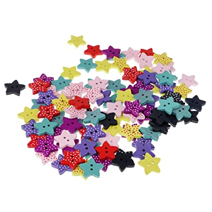 100pcs Wooden Sewing Buttons Scrapbooking Star 2 Holes Mixed Dot Pattern 15mm