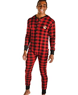 Lazy One Flapjacks Adult Pajamas (Red Plaid Bear Cheeks)