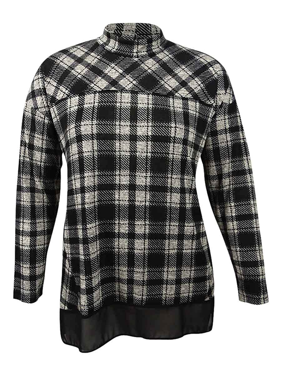Style & Co.... Womens Plus Plaid Mock Neck Casual Top 26861TP171