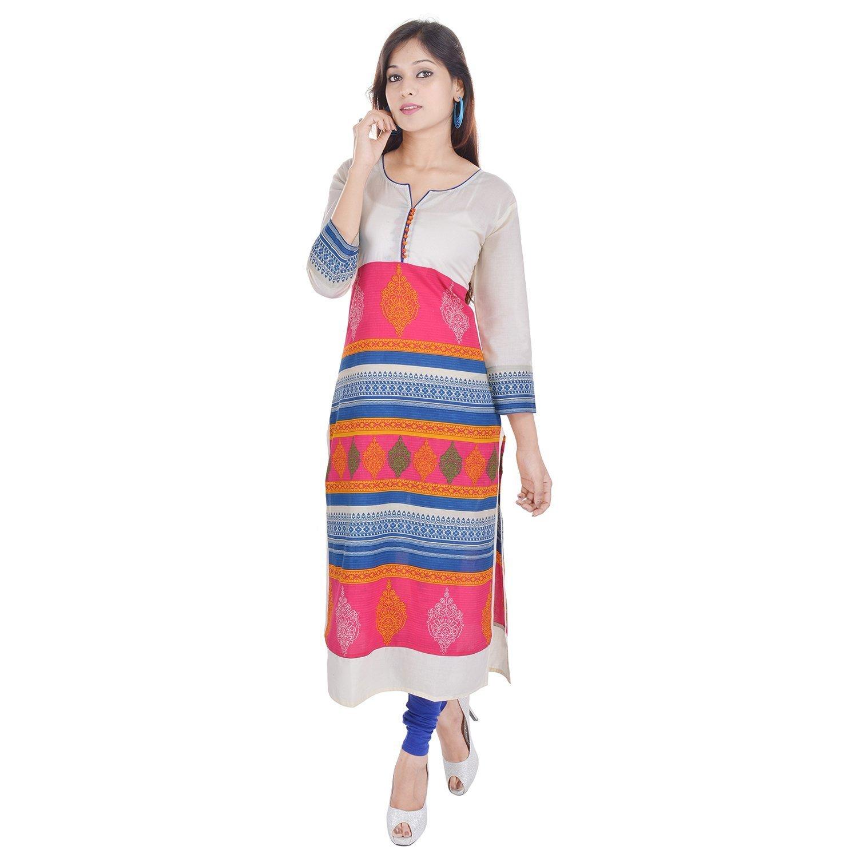 Chichi Indian Women Kurta Kurti 3/4 Sleeve Medium Size Printed Straight Multi-Colored Top