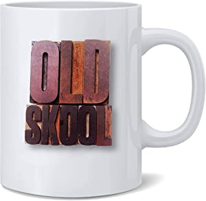 Old Skool Letterpress Wood Blocks Art Coffee Mug Old School Tea Cup Ceramic Gift For Home Rustic Home Decor Loft Interior
