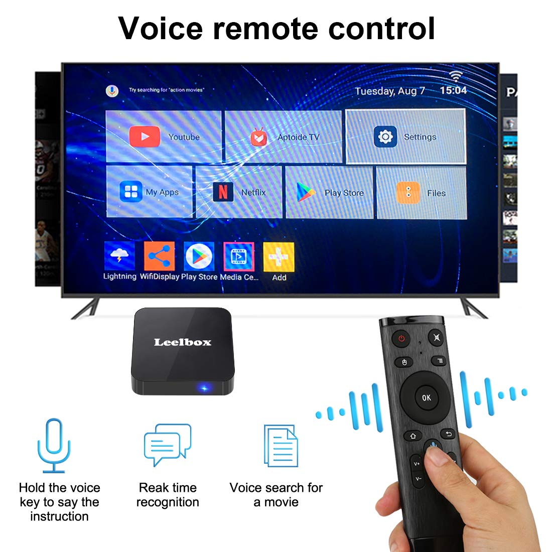 Android 8.1 TV Box, 2018 Leelbox Q2 Android Box Quad Core with 2GB RAM 16GB ROM, 2.4G Voice Remote Control Included, Support WiFi/3D/4K/H.265 by Leelbox (Image #3)