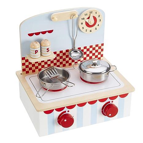 My Play Juego de Juguetes para niños, Juego de Cocina de Madera con cacerolas y