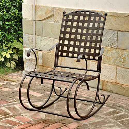 International Caravan Santa Fe Iron High-Back Patio Rocker in Brown