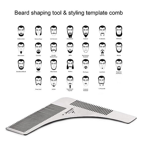 Kit de arreglo de barba, caballeros barba cepillo, peine de barba WONTECHMI, cepillo de cerdas de jabalí de barba, bigote y barba bálsamo de manteca de cera ...