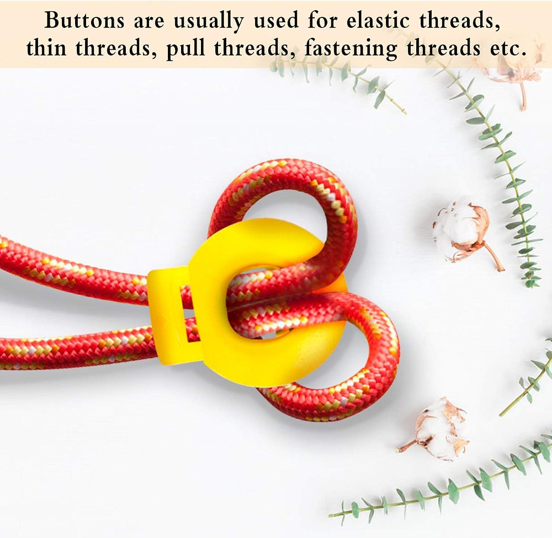 Cerraduras de cord/ón de pl/ástico de colores 100 Piezas Resorte de bloqueo del cable Agujero de ajuste el/ástico Tope del cable Topes de palanca redondos Bloqueos del cable Extremo