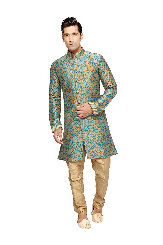 Indian Kurta pajama set for Men Wedding Festival Partywear in Beige Jaqard Art Silk ICW1246-7-44