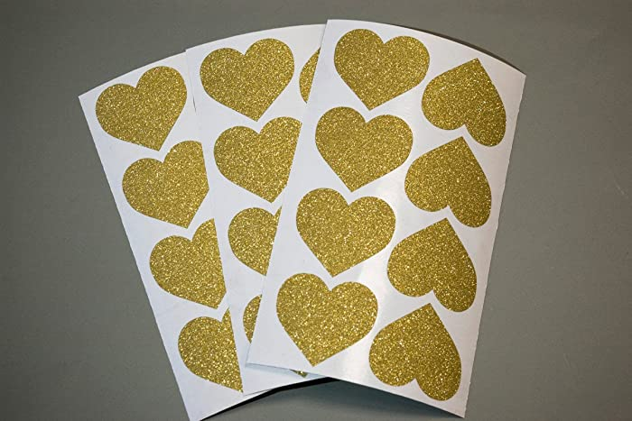20 Glitter Heart Stickers Princess Party Decor Envelope Seals
