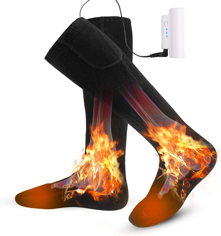 電熱 ソックス 加熱 靴下 電気 ホット 防寒 保温 発熱 暖かい USB 充電式 足元 ヒーター バッテリー