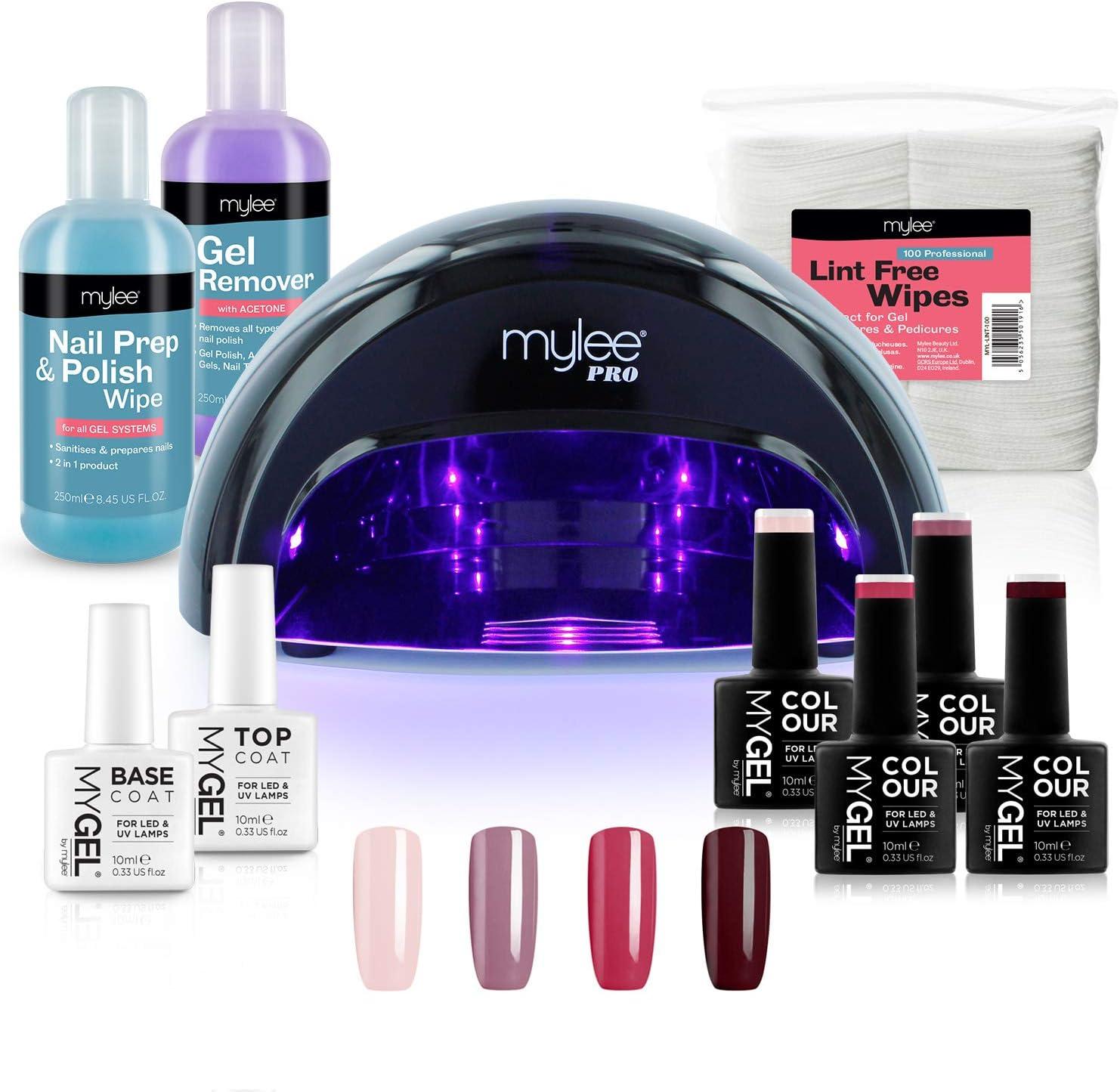 Kit Profesional LED Mylee para barniz de uñas, 4x colores MYGEL, capa superior e inferior, lámpara LED de curado convexo Mylee PRO Series, Prep & Wipe, removedor de gel (Negro): Amazon.es: Belleza