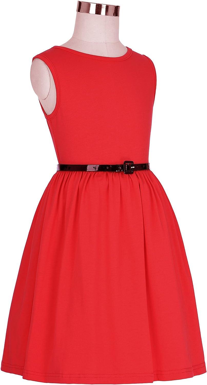 GRACE KARIN Girls Sleeveless Round Neck Swing Basic Daily Dress 2-12yrs CL8992