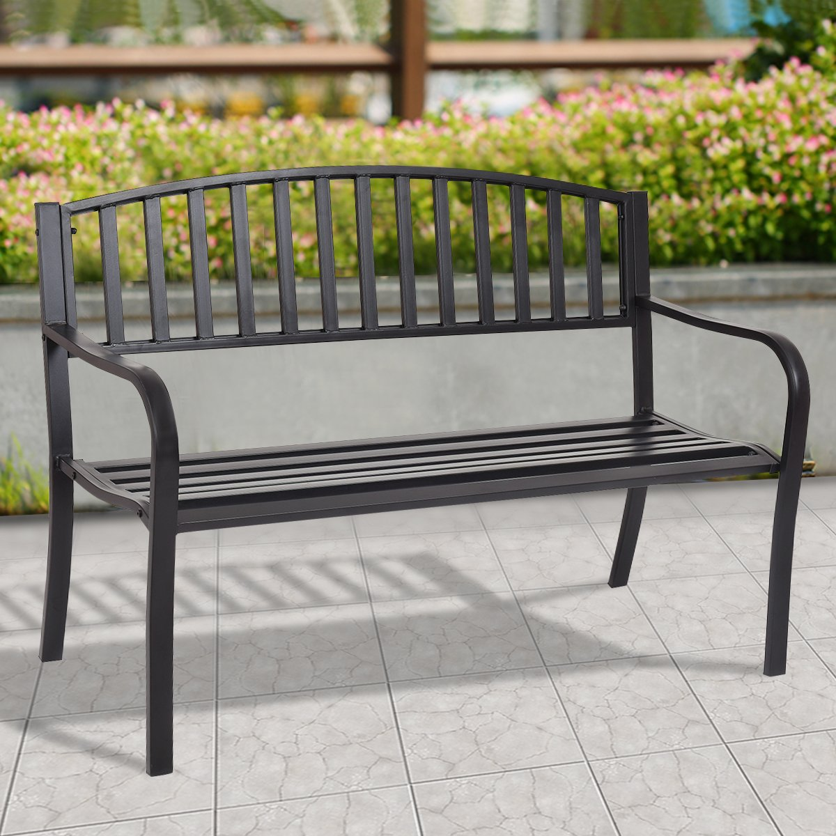 Giantex 50 Patio Garden Bench Loveseats Park Yard Furniture Decor Cast Iron Frame Black Black Style 2