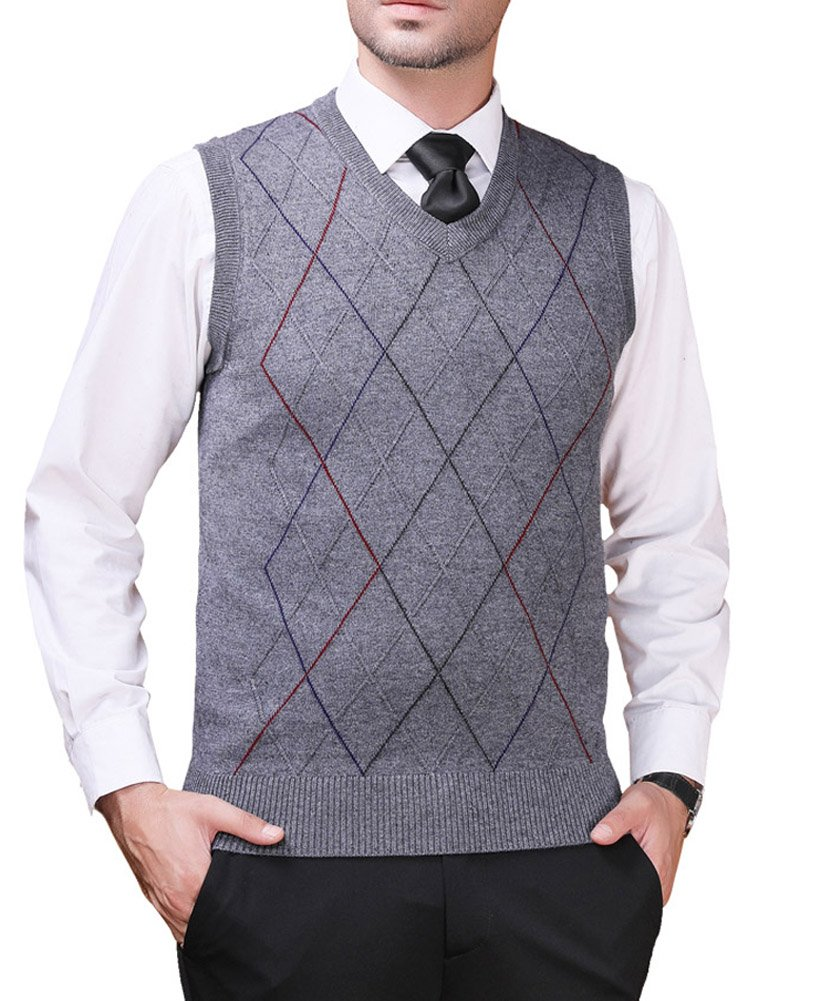 Zicac Men's Pullover Sweater Vest V-Neck Knitted Waistcoat Argyle Sleeveless Sweater Business Knitwear (L, Gray)
