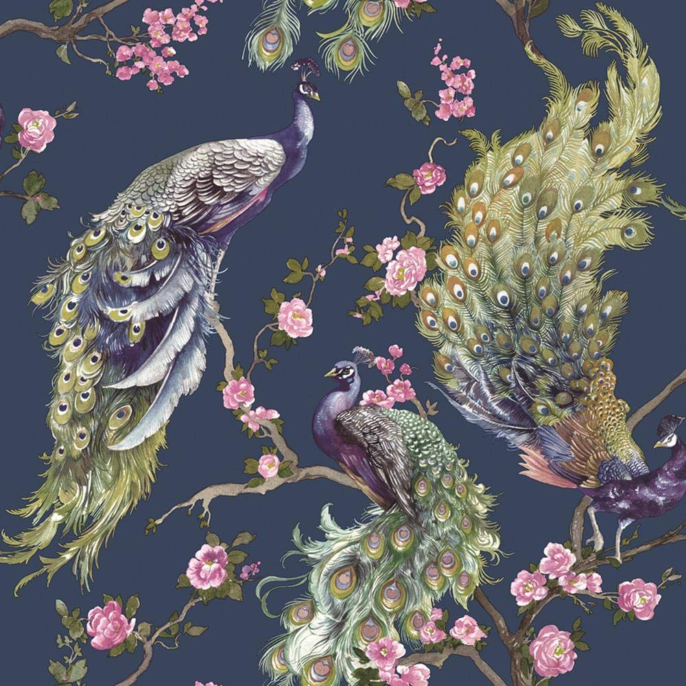 Menali Peacock Glitter Wallpaper Blue Pink Birds Leaf Floral Vinyl Yol Buy Online In Brunei Yol Products In Brunei See Prices Reviews And Free Delivery Over Bnd100 Desertcart