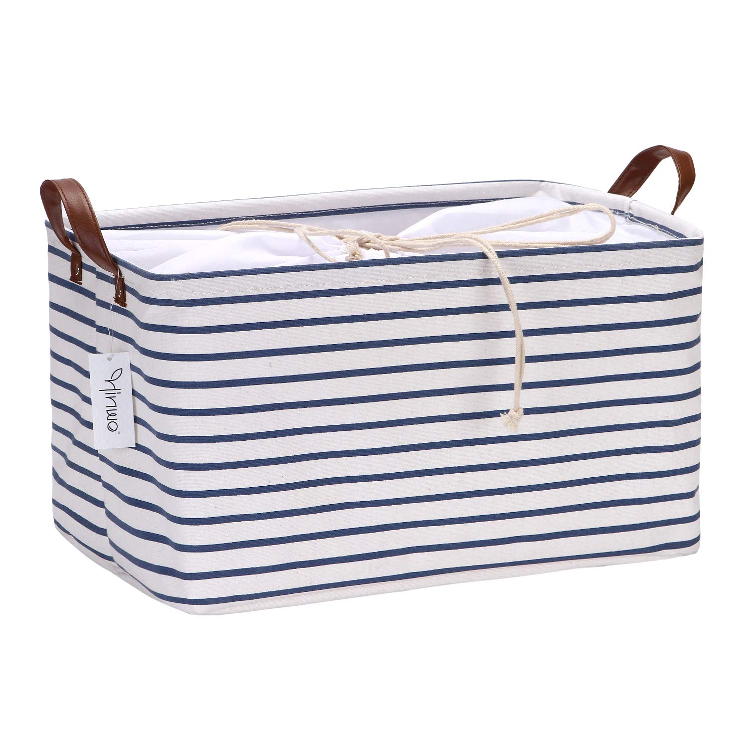 Hinwo 31L Large Capacity Storage Basket Canvas Fabric Storage Bin Collapsible Storage Box with PU Leather Handles and Drawstring Closure, 16.5 by 11.8 inches, Waterproof Inner Layer, Navy Stripe