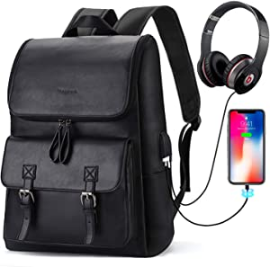 "Bageek Backpack for Men, 15.6"" Laptop Backpack Mens Backpack with USB Charging Port PU Leather Backpack Black"