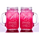 Mr and Mrs Set of 2 Personalized Mason Jars Drinking Mugs with Handle Personalized Custom Etched with Name and Date for Wedding, Engagement Anniversary Bridal Party Gift of Favor for Newlyweds Couple Etched Laser Engraved His and Hers Couple Gift Idea