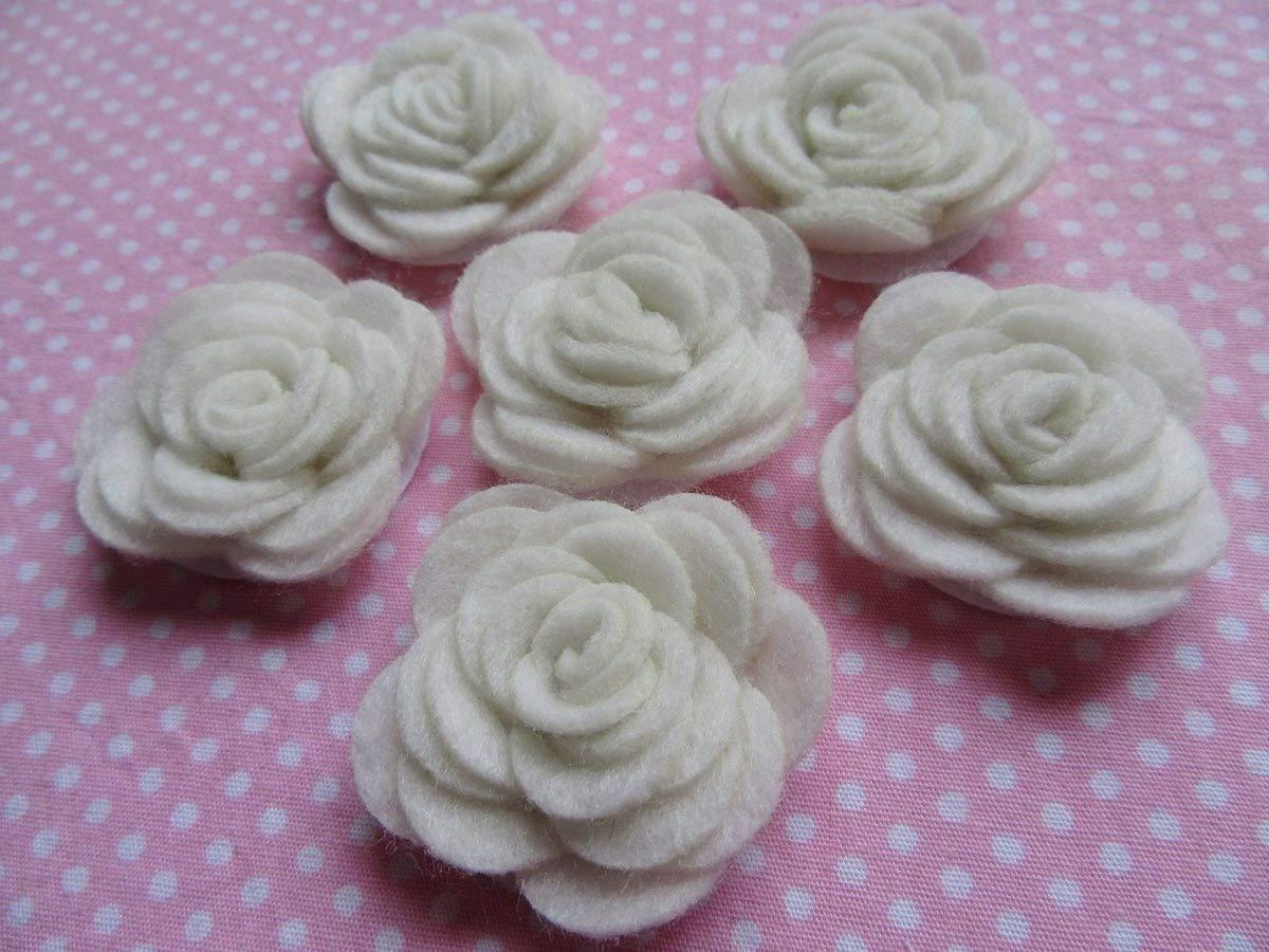 YYCRAFT Pack of 20PCS Felt Flower Rose 1.5 4D Applique//Bow-Mix