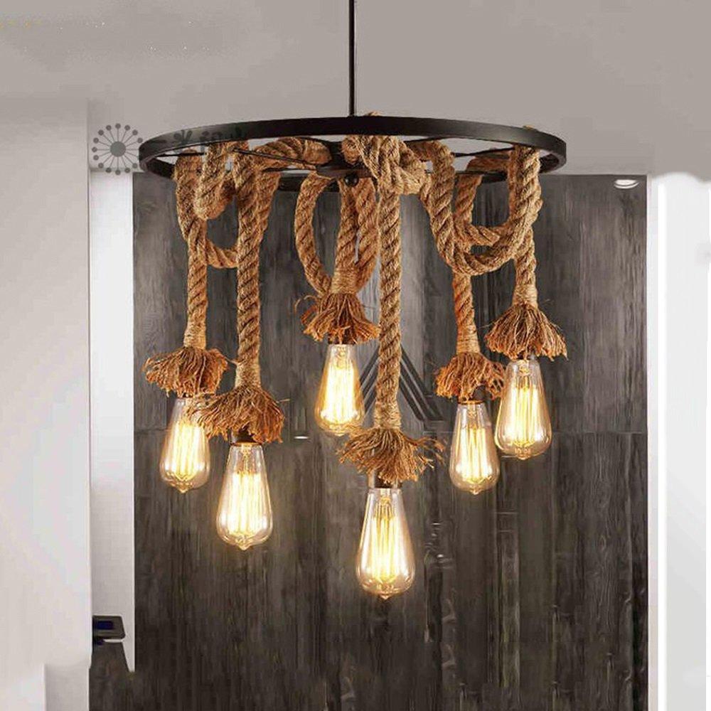 Hanf Seil Kronleuchter Anhänger Licht Decke Lampe 6 Lampenfassung, Lampenfassung, Lampenfassung, E27 Lampe Vintage Edison SeilDeckenleuchte (keine Birne) f9c60f